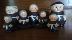 Goebbel Germany - Lot 7 ceramic monks - Set mustard & salt & pepper + mug + cream jar + 2 salt stone which turns
