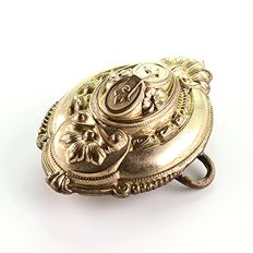 Antique Biedermeier pendant made of gold double and brass with secret compartment around 1850