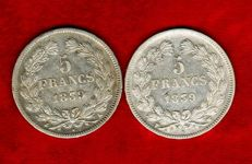 France - 5 Francs 1839-A, 1839-W (set of 2 coins) - Louis Philippe - Silver