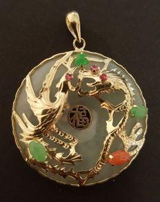 Grade A Jade base / 14ct gold blessing dragon pendant with precious stones: Rubies, Coral