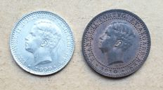 Portugal – Lot of 2 coins – 5 Réis 1910 and 100 Réis 1909 – D. Manuel II. Top Condition