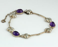 Antique Art Deco bracelet real silver 925 & 3 real amethysts 7.05 ct around 1940