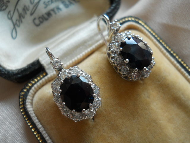 Diamond Sapphire Earrings , second part of 20th century , TOTAL 4,3 CT !!!!!!!!