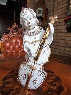Limoges porcelain & Swarovski crystal -  24 carat golden highlights - Pierrot.