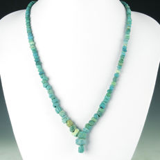 Necklace with Roman turquoise glass beads - 52 cm