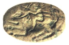 Scarab, rider on a horse, stone length = 25.9 mm
