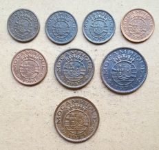Mozambique / Republic – Large 8 coin lot – 10 Centavos 1960, 1961 – 20 Centavos 1961, 1973, 1974 & 50 Centavos 1957, 1973, 1974
