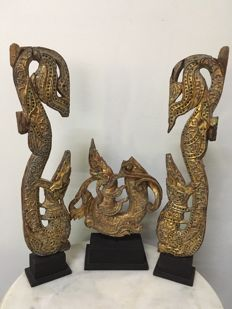 3 piece set of Wooden Gilt Dragon Carvings - Burma - Mandalay Period 19th Century
