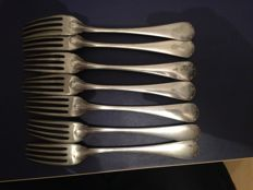 Set of 7 silver plated metal forks from Christofle