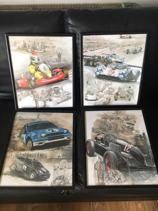 Great collection of 4 graffic posters in frame