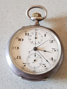 Swiss pocket watch – rattrapante (slave pointer) stopwatch circa 1880