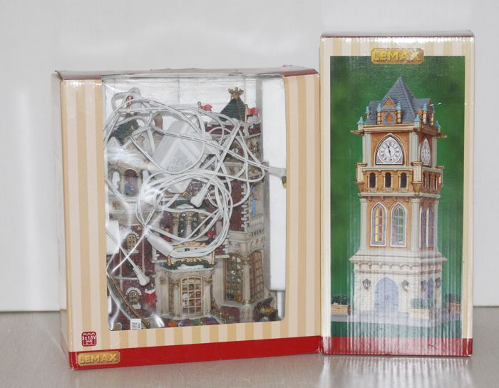 Lemax toy store and clock tower with lighting