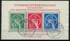 "Berlin 1949 – ""Edition in favour of the Aid set in block"" with printing errors I & II"" – Michel Block 1 II"
