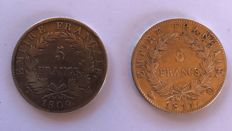 France – 5 Francs 1809 W & 1811 Q (lot of 2 coins) – Napoléon I – Silver