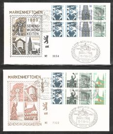 "Berlin 1989 - complete Se-tenant series ""SWK"" on FDC including stamp book sheets with Berlin special cancellations - Michel W93/W98, HBI. 22/23"