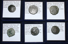Greek Antiquity - Lot of 6 Greek Coins - Thessalonica, Amisos, Alexander the Great - All Classified