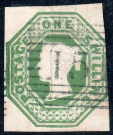 Great Britain Queen Victoria 1847 - 1 shilling Green Embossed - Stanley Gibbons 55.