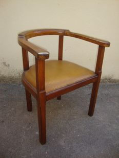 Art Deco Office chair in oak and leather - Early XX Century
