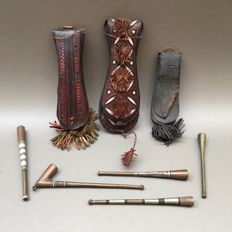 Five tobacco holders and three pouches - Touareg, ca. 1950