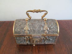 Richly decorated metal box partly gilded-France-ca. 1880