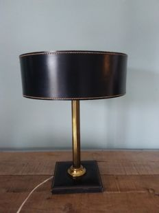 Designer unknown - vintage, leather table lamp
