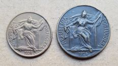 Portuguese Republic – 2 coins – 50 Centavos & 1 Escudo 1924 . Above Average