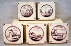 Five antique, hand-shaped, manganese-coloured tiles, 13 x 13 cm