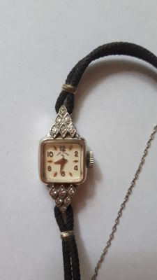 Lady Elgin old wristwatch for women 14kt / 585 white gold