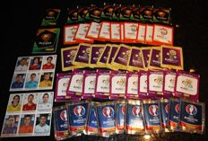 Panini - Euro 04/08/12/16 - 50 unopened packets including 1 rare packet of mini stickers with bubble gum + 1 empty mini sticker album + 2 sticker sheets Euro 2012.