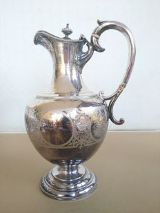 Large silver plated Teapot with handle and finial, finely decorated, marked John Fullerton - Glasgow - 1878