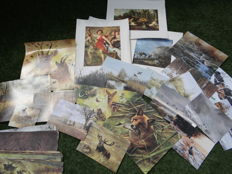 Large collection of prints/posters with hunting scenes 100-150 items