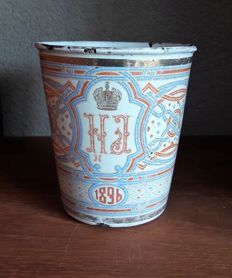 "Enamelled Russian "" Cup of Sorrow "" with Tsarist weapon  - anno 1896"
