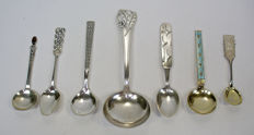 Collection of 7 several modernist silver spoons, Scandinavia, 20th century