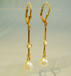 Long pearl pendeloques with seed pearls and genuine white pearl droplets
