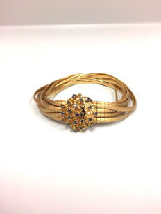 18 Kt yellow Gold Bracelect with sapphires 56g