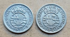 Portuguese Angola & Mozambique / Republic – 'Pair' 50 Centavos 1950 . Top Condition
