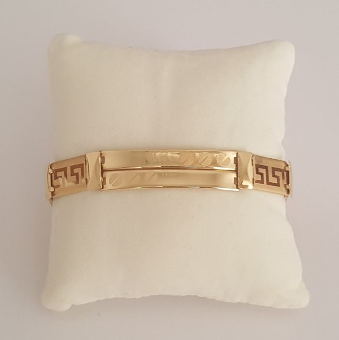 18 kt Yellow gold bracelet with Greek design – Length:. 21 cm.