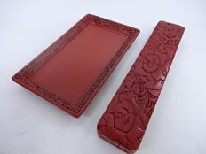Two red lacquered case and tray - Japan - late 20th century