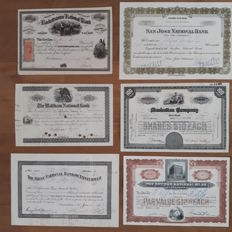 Lot of 6 American banks: a.o. The Hackettstown National Bank, 1866 and Manhatten Company, 1946 (later Chase Manhattan)