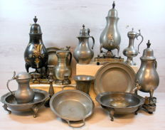 Collection 15 pieces old pewter objects