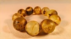 Vintage round beads 100% Genuine Baltic Amber bracelet, 93 grams