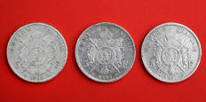 France – 5 Francs 1867/1868 (lot of 3 coins) – Napoleon III – Silver