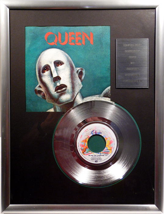 "QUEEN - We are the champions - 7"" Single EMI Records platinum plated record Special Edition"