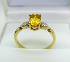 Yellow Sapphire and Diamond 9K Gold Dress Ring. Size P (55 7/8)