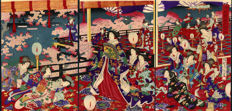 Wood carving triptych by Toyohara Chikanobu (1838-1912) - princess with court ladies - Japan, approx. 1885