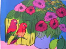 Walasse Ting - Two Parrots