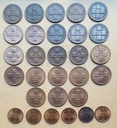 Portuguese Republic – Complete series of 20 Centavos coins – set of 29 coins – 1942 to 1974 – Above average grade