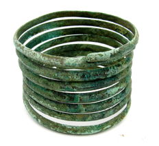 Ancient Celtic (Bronze Age period)  Bronze Coiled Bracelet / Bangle - 66 x 50 mm