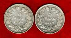 France - 5 Francs 1842-B, 1842-W (set of 2 coins) - Louis Philippe - Silver
