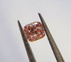 0.12 carats, Cushion Cut, Fancy Intense Orangy Pink Diamond